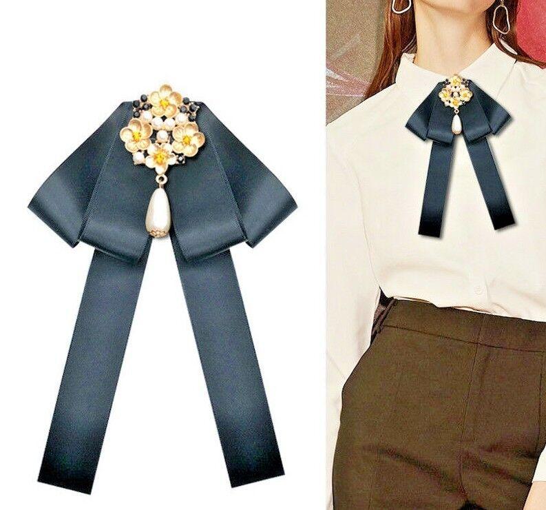 Baroque Crystal Pearl Ribbon Bowknot Brooch Pin Necktie Dress Collar Bow Tie