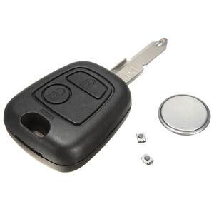 2-Tasti-Chiave-Guscio-Cover-Telecomando-Batteria-2-Pulsante-Per-Peugeot-206