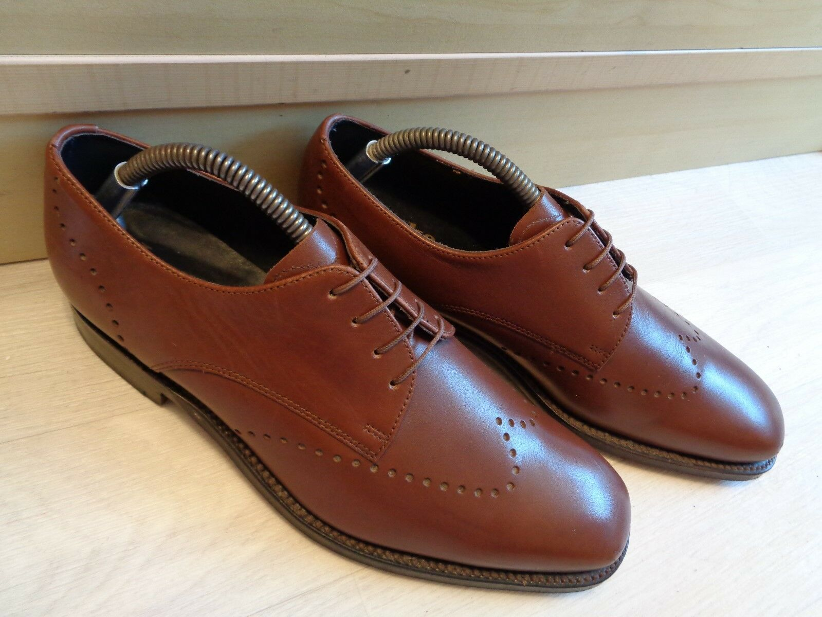 Vtg Loake England full leather derby UK 7 41 brown Goodyear welt wingtip lace up