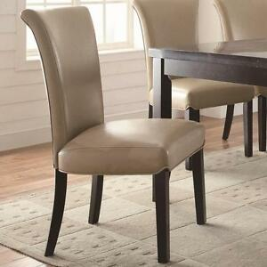 Upolstered Taupe Parsons Dining Side Chair By Coaster
