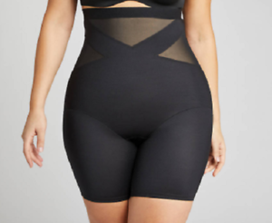 Shape by Cacique Illusion High Waist Thigh Shaper Lane Bryant BLACK Slimming New