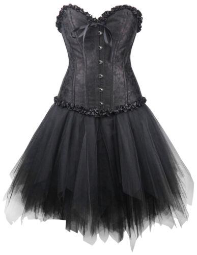 Mini Rock Kleid Steampunk schwarz Gothic Wäschebeutel Corsagenkleid Corsage