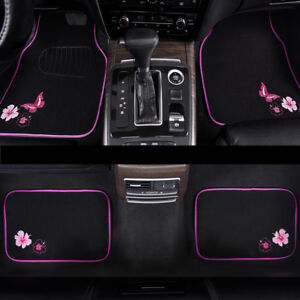 Car-Floor-Mat-Universal-Pink-Black-Butterfly-4-PCS-For-Honda-Hyundai-Toyota-Ford