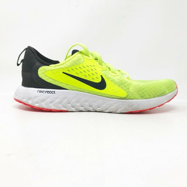 Nike Boys Legend React AH9438-700 Volt Black Running Shoes Lace Up Size 6Y