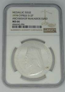 1974-Medalla-Issue-Cyprus-Archbishop-Makarios-Fund-Moneda-NGC-Ms-66