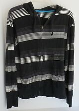 Mens BillABong Black with Stripes Hoodie Sweat Shirt Size M