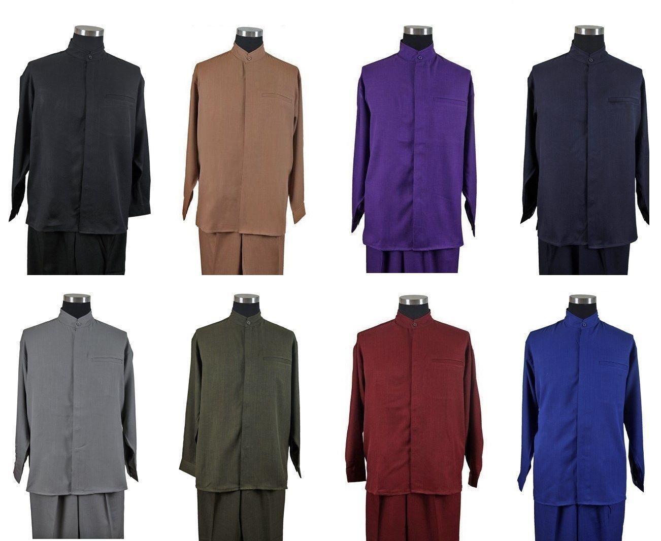 Men/'s 2-piece Set Mandarin//Banded Collar Casual Shirt/&Pants //Walking Suit M2959