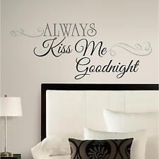 ALWAYS KISS ME GOODNIGHT wall sticker 11 BIG decals romantic LOVE room stickups
