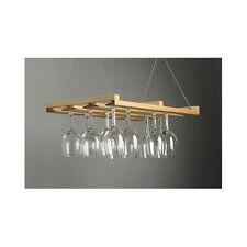 Hanging Stemware Rack Wooden Wine 24 Glass Holder Bar Champagne Crystal Home Pub