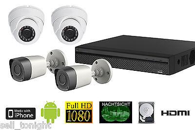Full-HD Außen Überwachungskamera Komplettset Nachtsicht Smartphone Zugriff!
