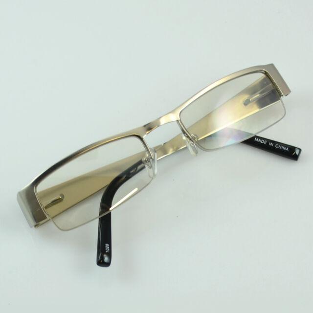 1d4cb51e7cd New Khan Clear Lens Glasses Rectangular Frame Mens Metal Silver BK Half Rim  1028