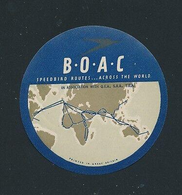 06752) Luftpost Vignette Air Mail Label, Boac Speedbird Routes Across The World