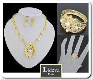 Luxus-Schmuck-Set-4-Tlg-Kette-Ohrringe-Armband-Ring-Gold-Pl-Braut-Perlen-Paris