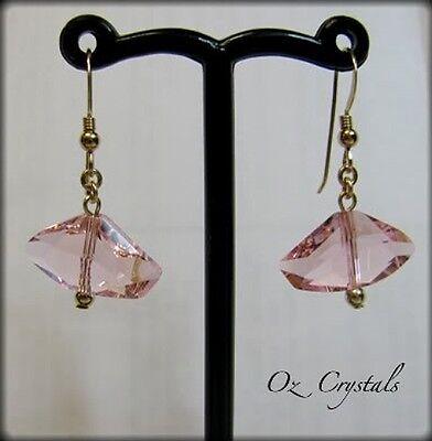 Rosaline Pink Galactic Earrings MW Swarovski Elements & 14 Kt Gold Filled