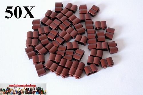 50X Lego® Basic 30136 Palisadensteine Palisaden 1X2 Rotbraun Reddish Brown NEU