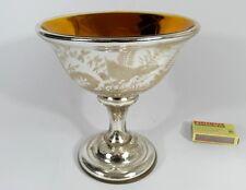 Silberglas Bauernsilber Schale Blumen Vogel um 1850 - 1870