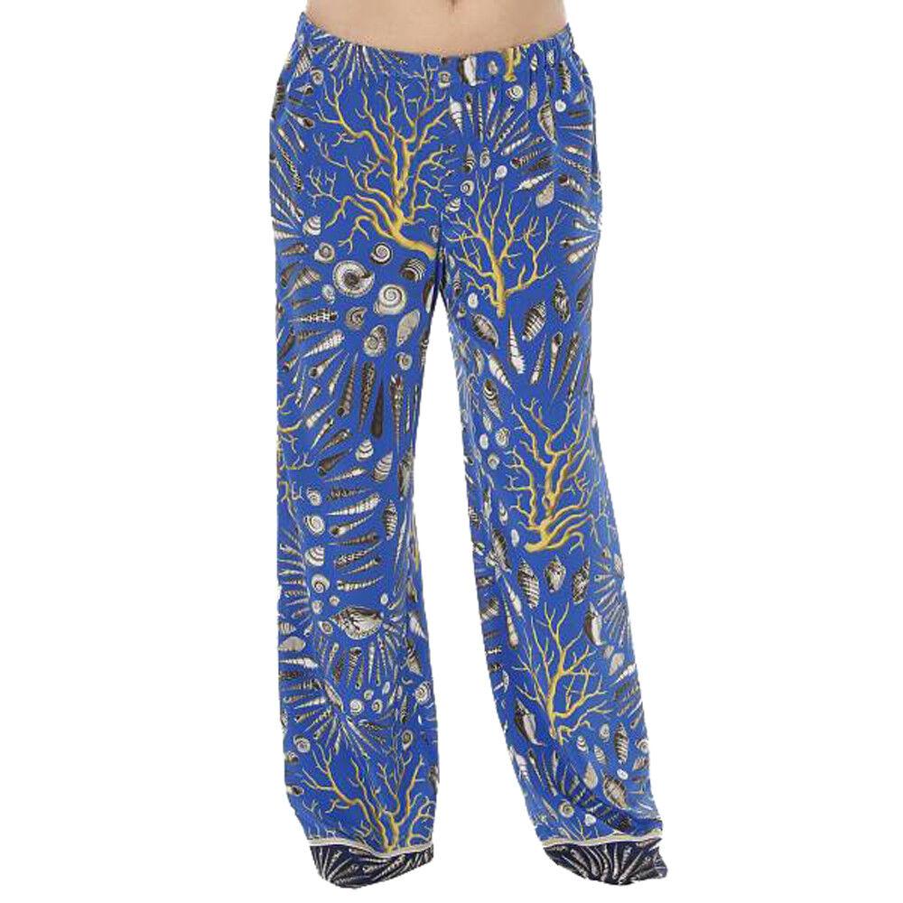 MARINA RINALDI Women's bluee Riviera Shell Print Silk Pants  780 NWT