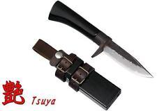"""Kanetsune Tsuya Urushi 3.54"""" Blue Steel Damascus Oak Blk Polished Handle KB-206"""