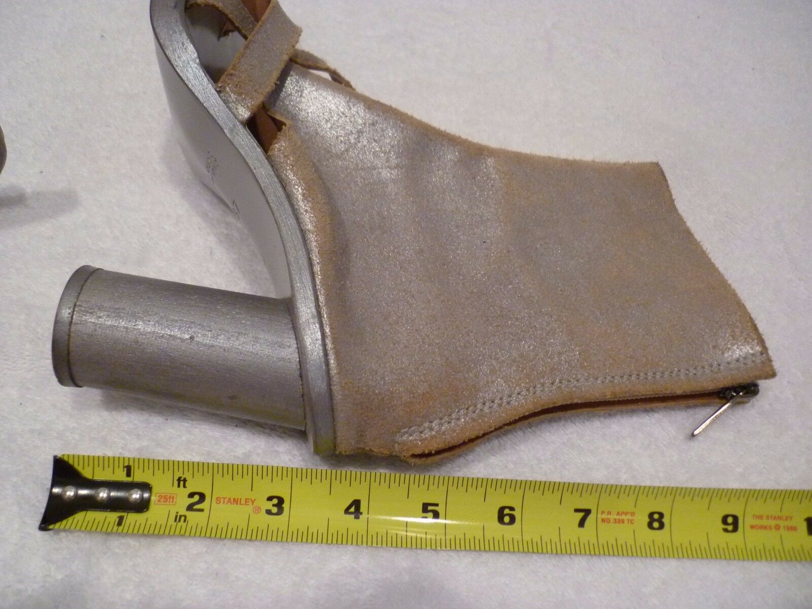 Peachoo + Krejberg leather open toe ankle boot boot boot heels metallic fabric SZ 37 7 6.5 cb3672