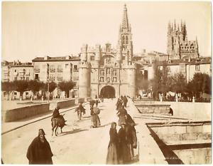 Espagne-Espana-Burgos-Puente-y-Arco-de-Santa-Maria-Vintage-albumen-print