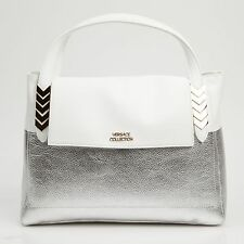 Versace Collection White Leather Shoulder Hand Bag Purse Shoulder Strap NEW
