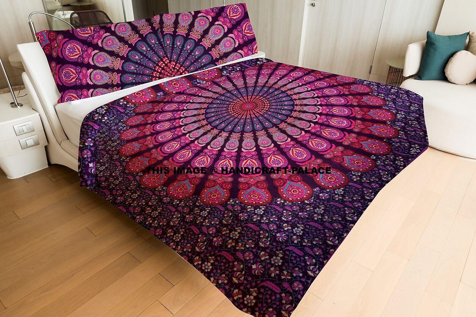 Indian Mandala Quilted Quilt Hippie Blanket Reversible Queen Comforter Duvet Set