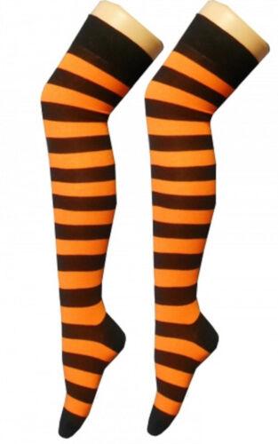 Stivali al Ginocchio Arancione e Nera a Righe Stripey Calzini Sox a righe tiger Emo