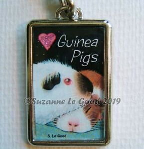 GUINEA-PIG-ART-GLITTERY-HEART-KEYRING-HANDBAG-CAT-CARRIER-CHARM-SUZANNE-LE-GOOD