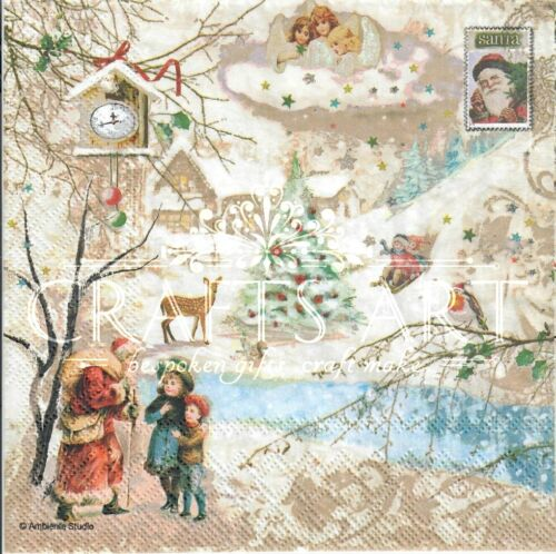 4 Single paper decoupage napkins Christmas kids -X144 winter wonderland