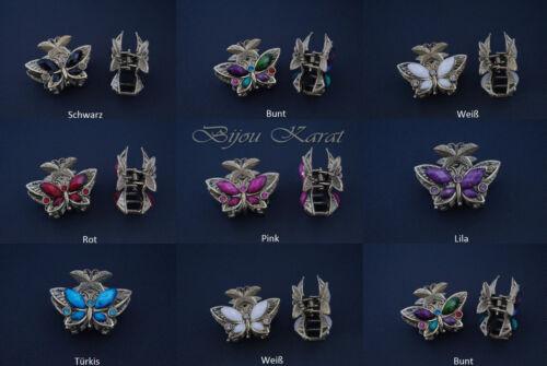 3D Strass Perlen Schmetterling Haarklammer Bronze Antikstil Haarspange Altgold