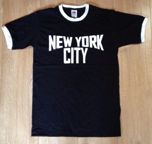 New York Ringer T-Shirt Retro John Lennon Classique Musique Imagine Noir