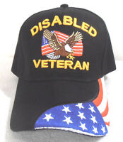 Military Cap Disabled Veteran Hat Black