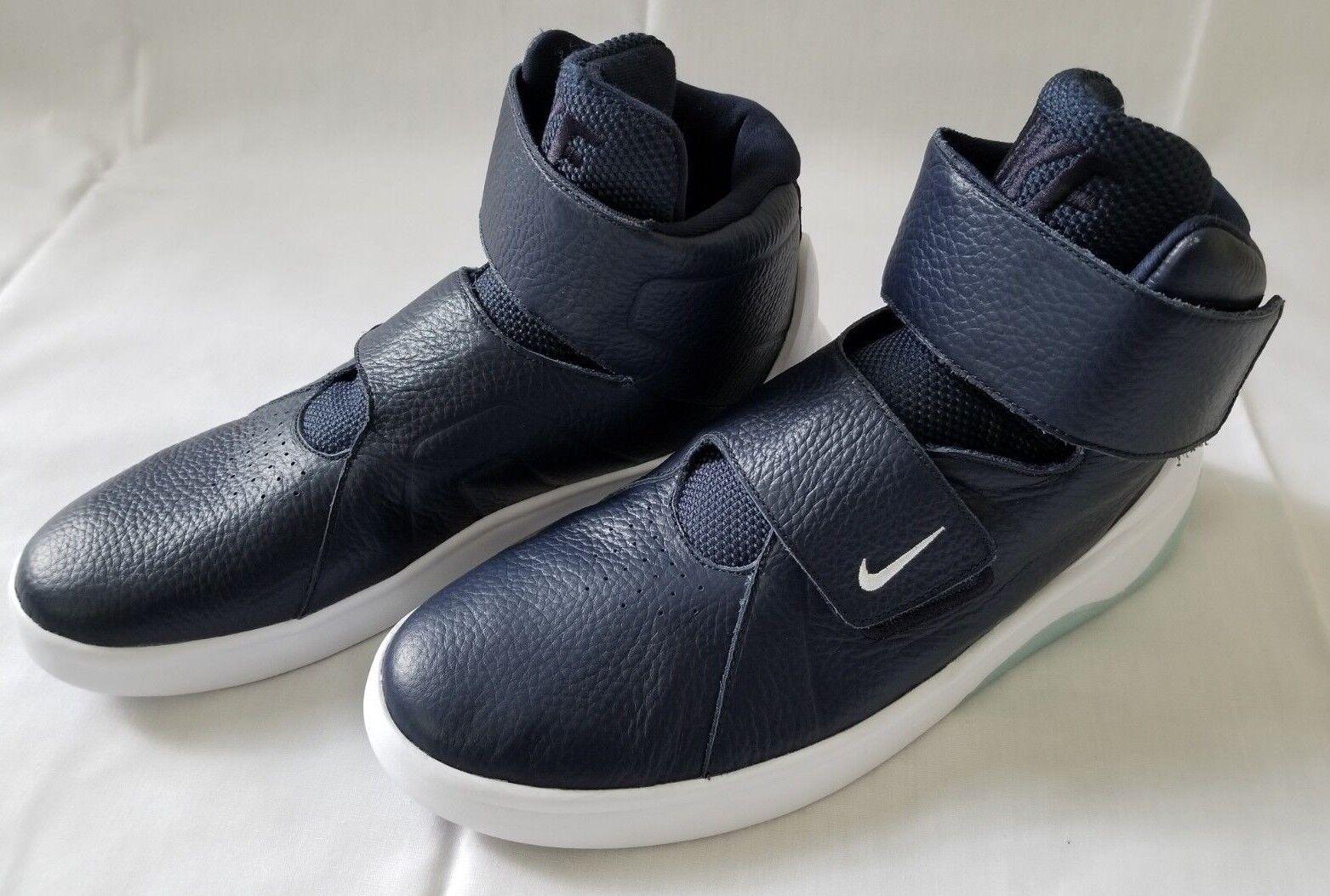 Para Hombre Talla 11 Azul blancoo Nike Marxman Cuero Zapatos de baloncesto 832764-400