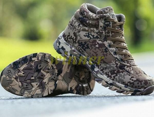 Hot Men's camouflage camo lace up ankle boots combat Hiking Outdoor shoes Casual