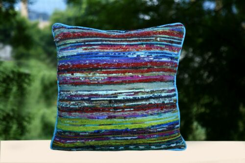 """Square Rag Rug Cushion Cover 16/"""" Recycled Fabric Pillow Case Hand Loomed Cushion"""
