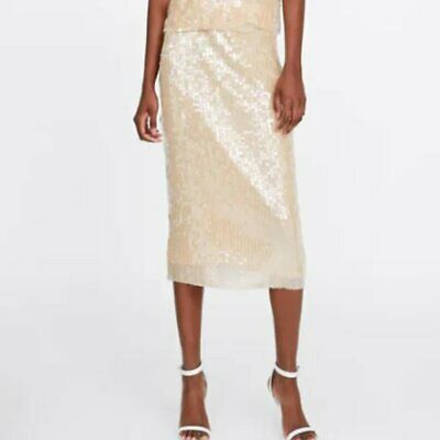 Zara Womens Sequin Beige Nude Midi Skirt S Small Pencil Straight 2878//165 NWT