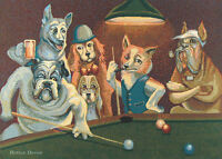 Wall Jacquard Woven Tapestry Dogs Playing Pool / Billiard European Animal Decor