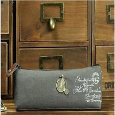 Vintage Canvas Bicycle Stationery Storage Pen Pencil Case Purse Bag Cosmetic uf