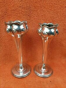 """Pair of Antique Sterling Silver Hallmarked Tulip Vases 5"""" 1904 J Gloster  aao"""