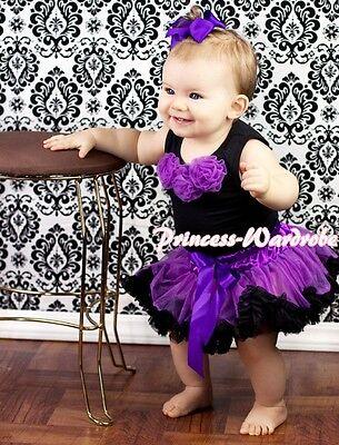 Baby Purple Zebra Pettiskirt Black Rose Top Set 3-12Ms