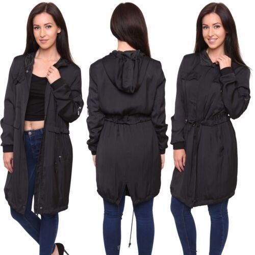 Ex Store Ladies Lightweight Womens Black Zipped Sateen Hooded Parka Coat 8-22