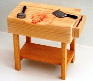 Dollshouse 12th scale Butchers Block with tools