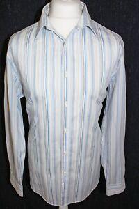 Jeff-bancos-para-Hombre-informal-blanco-y-azul-a-rayas-de-camisa-de-mangas-largas-Tamano-Grande