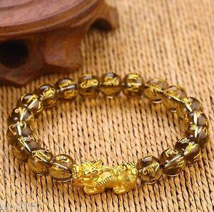 NEW Pure 24K Yellow Gold Bracelet 19*9*8mm 3D Bless Pixiu Link Black Agate Bead
