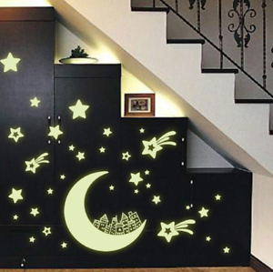 Moon And Stars Night Light Luminous Wall Sticker For Kids Rooms Wall Decal Art
