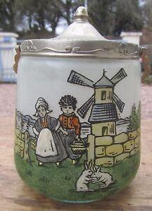 Superbe Ancien Pot A Biscuit Decor Emaille Moulin Breton 35scccmw-08010915-825780707