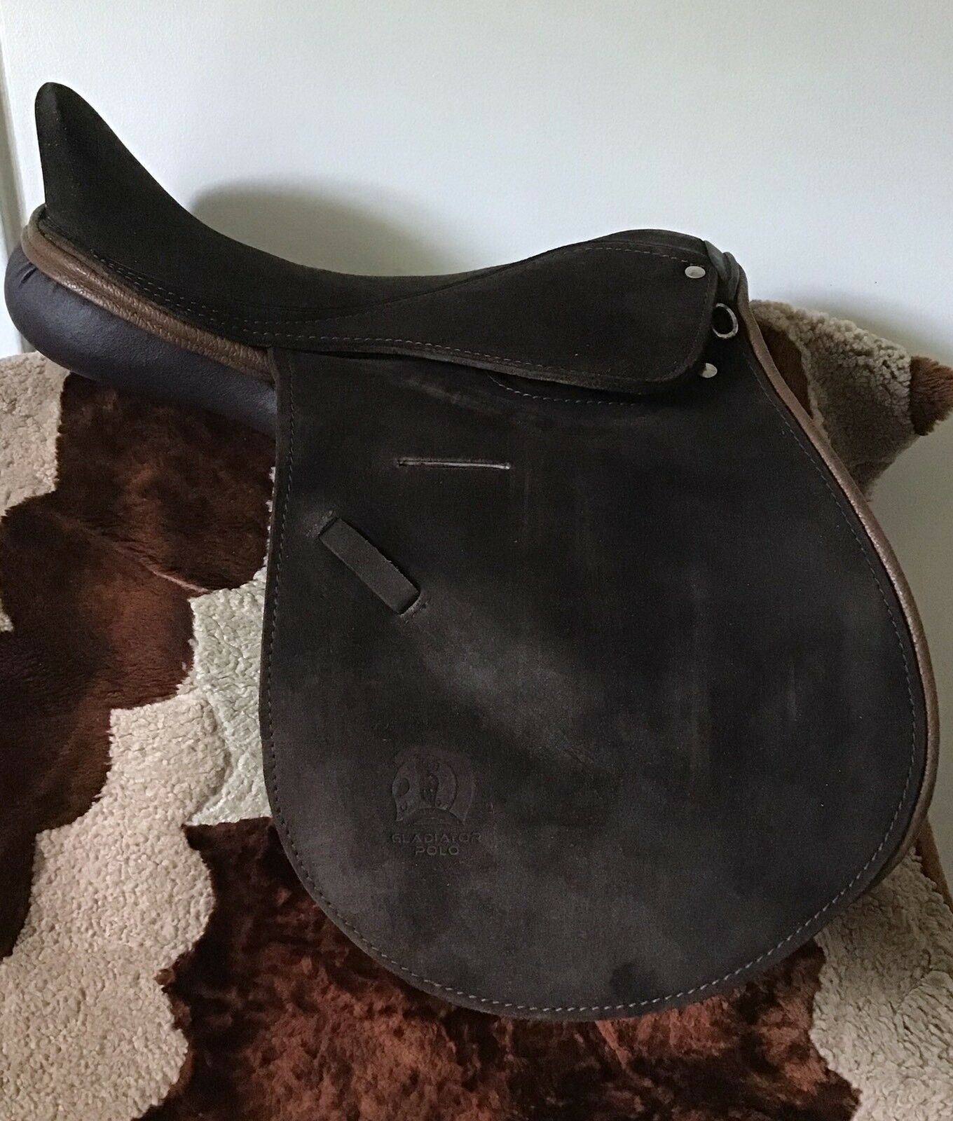 Dark Brown Suede Polo Saddle 18  Full Contact