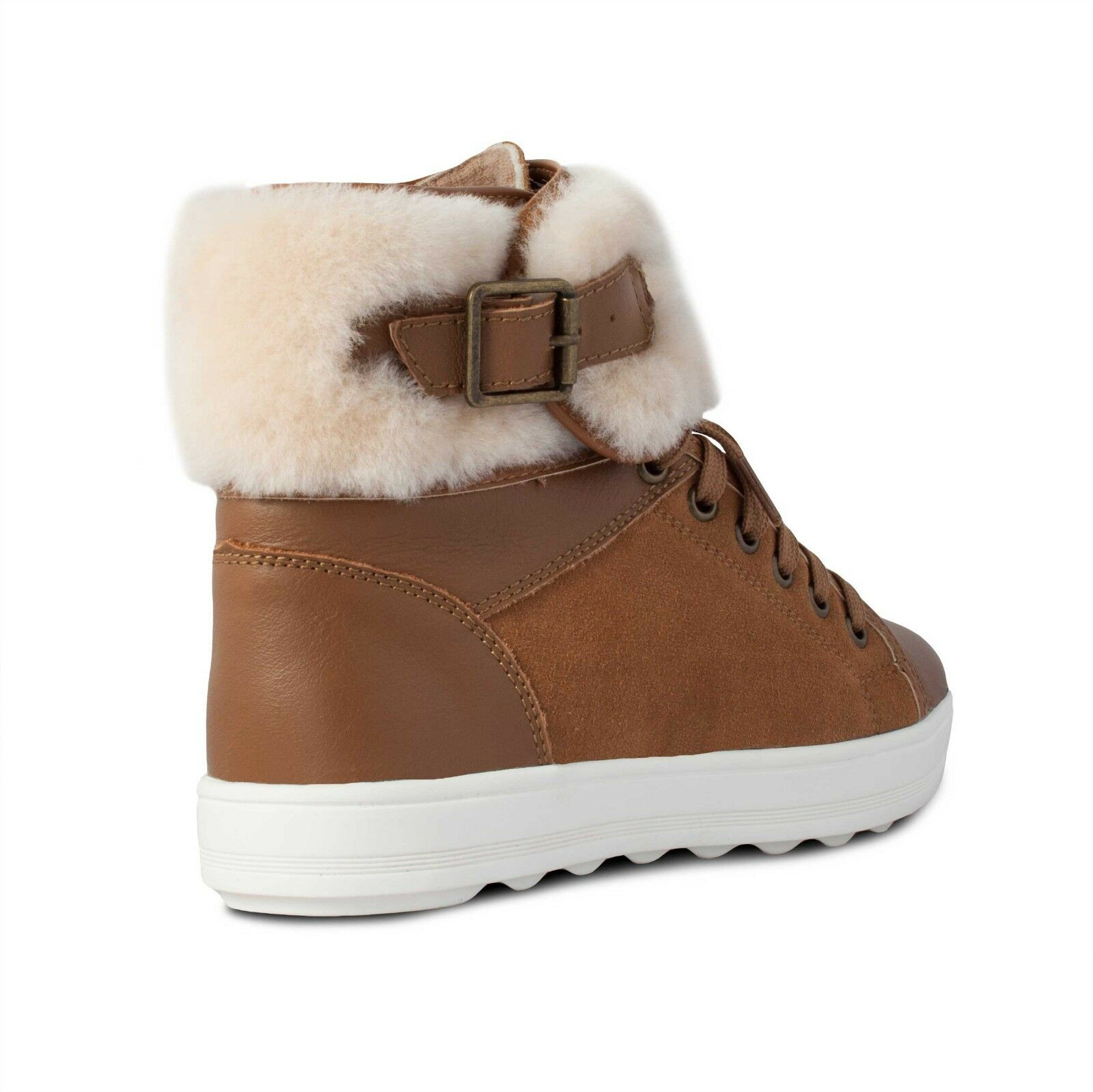 Cloud Nine RJ's Champ Damenschuhe Hi-Top Ankle Sheepskin Trimmed Braun Boot Schuhes UK8