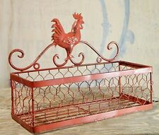 Wall Pocket/Basket/Wire Metal/Organizer Bin/Red/Rooster/Cottage/Farm House Chic