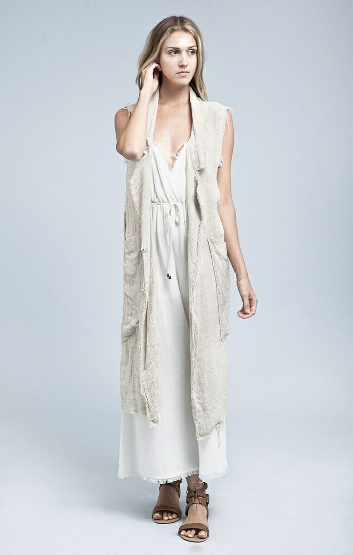 Ladies Moon River Natural Woven Vest with Fringed Edging